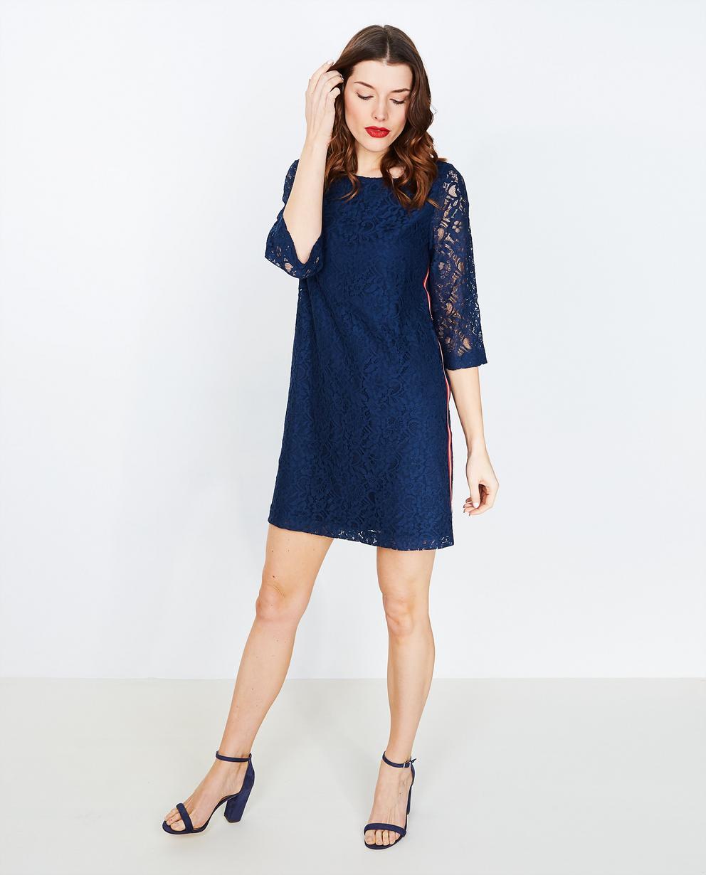 6a3d34892254cf Nachtblauwe jurk - in kant - JBC
